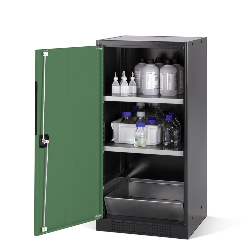 Chemicals cabinet Systema CS-52L, body anthracite, wing doors green, 2 inliners and spillage decking
