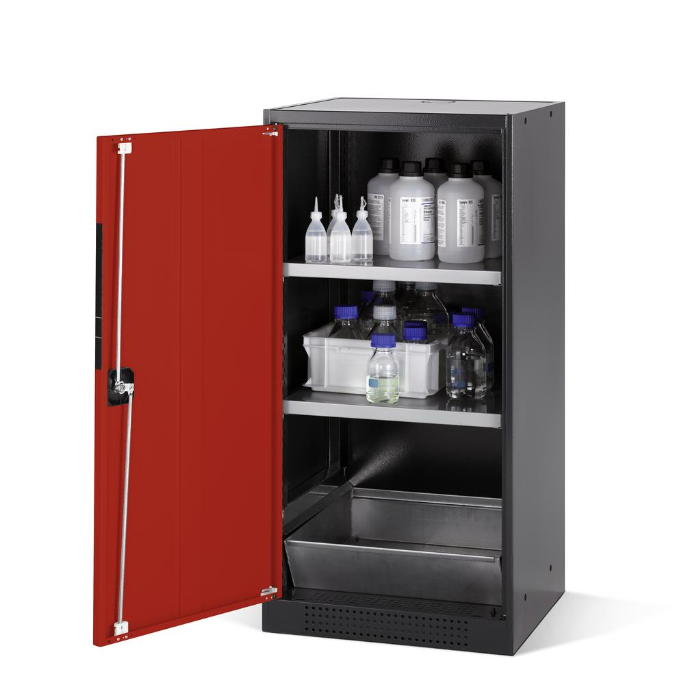 Chemicals cabinet Systema CS-52L, body anthracite, wing doors red, 2 inliners and spillage decking