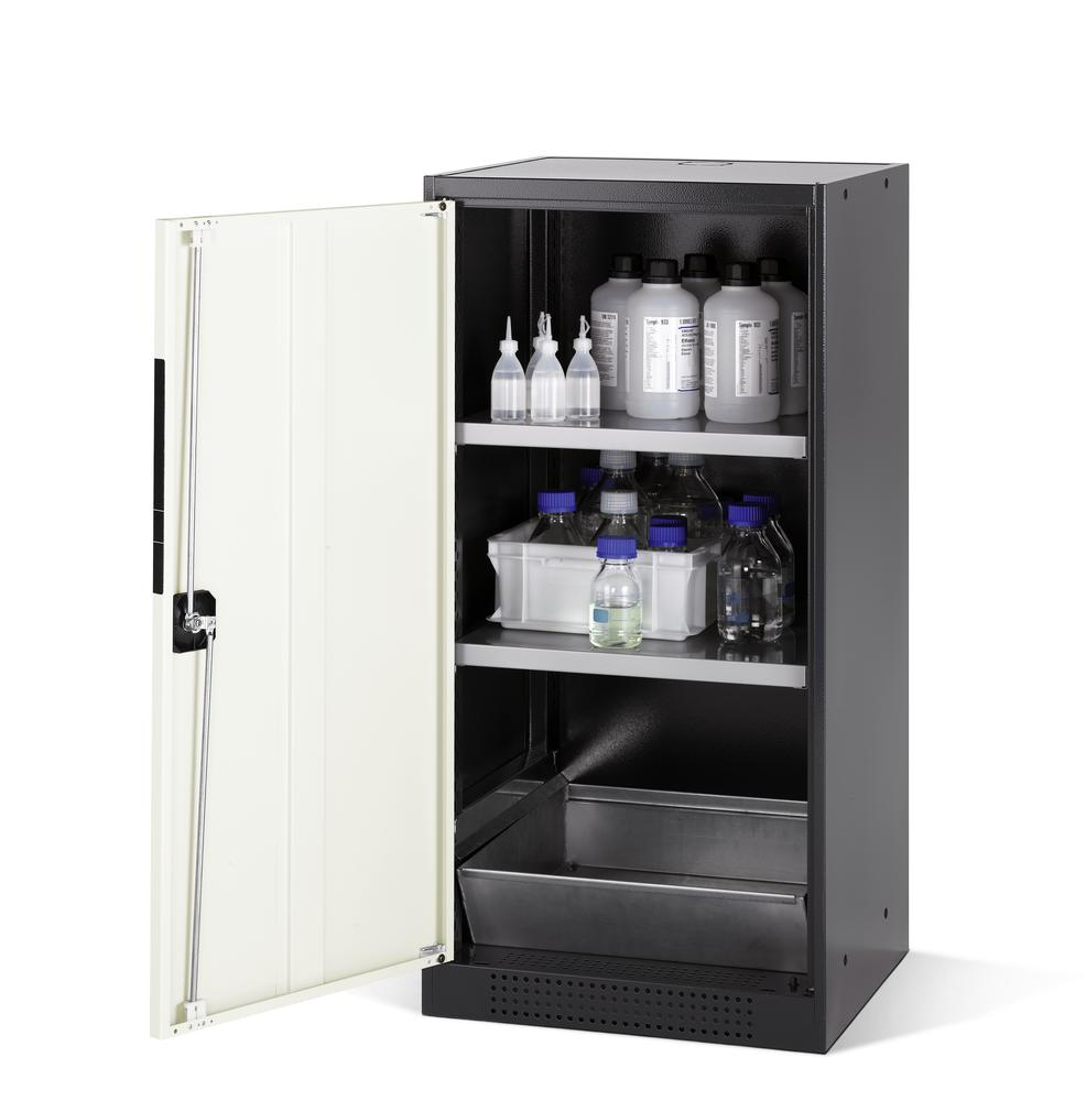 Chemicals cabinet Systema CS-52L, body anthracite, wing doors white, 2 inliners and spillage decking