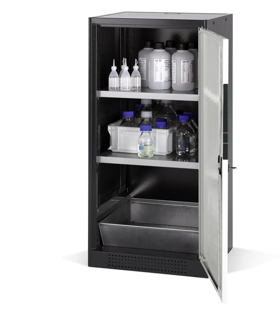 Chemicals cabinet Systema CS-52R, body anthracite, wing doors grey, 2 shelves and spill pallet