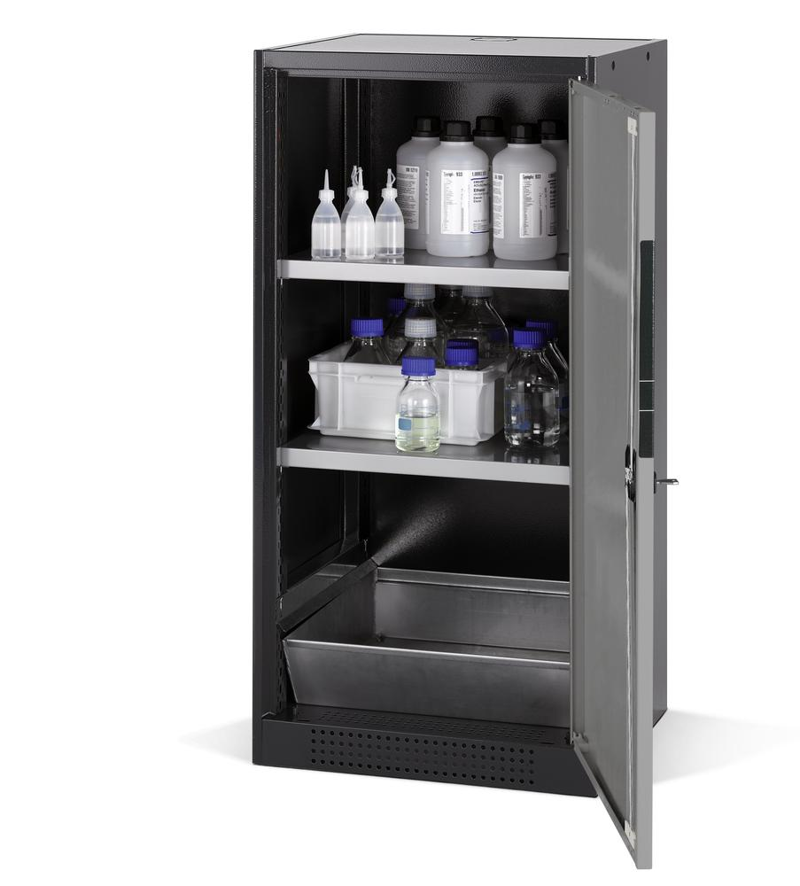 Chemicals cabinet Systema CS-52R, body anthracite, wing doors silver, 2 shelves and spill pallet