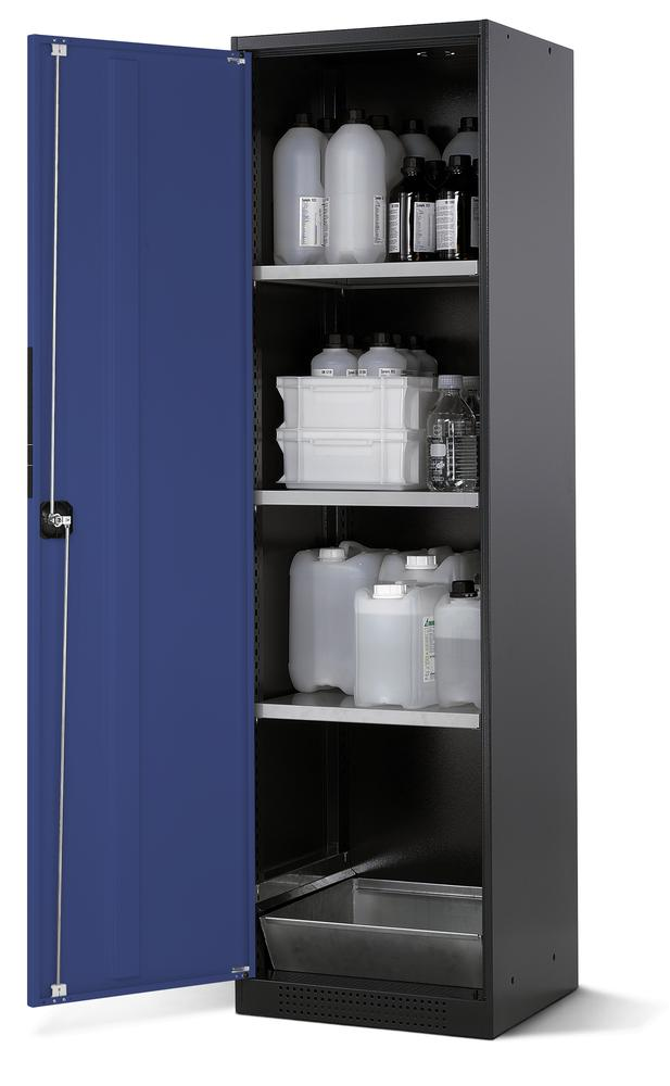 Chemicals cabinet Systema CS-53L, body anthracite, wing doors blue, 3 inliners and spillage decking
