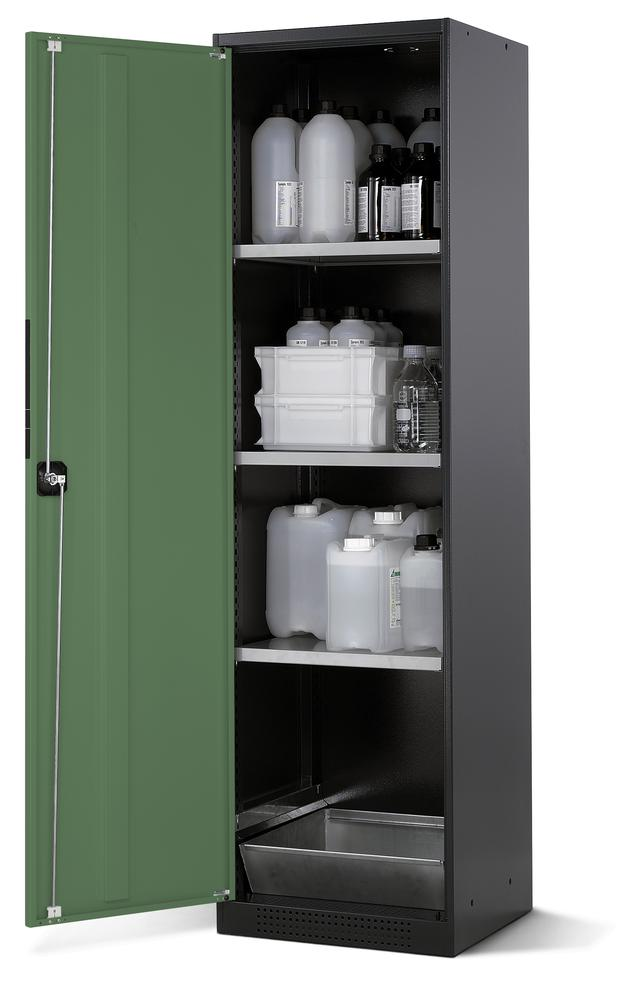 Chemicals cabinet Systema CS-53L, body anthracite, wing doors green, 3 inliners and spillage decking