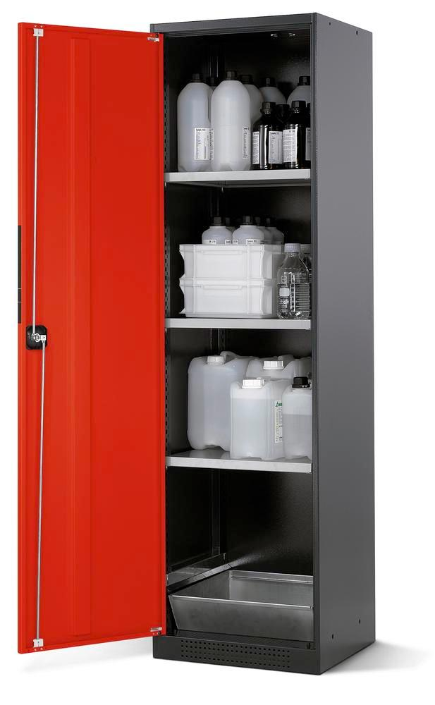 Chemicals cabinet Systema CS-53L, body anthracite, wing doors red, 3 inliners and spillage decking