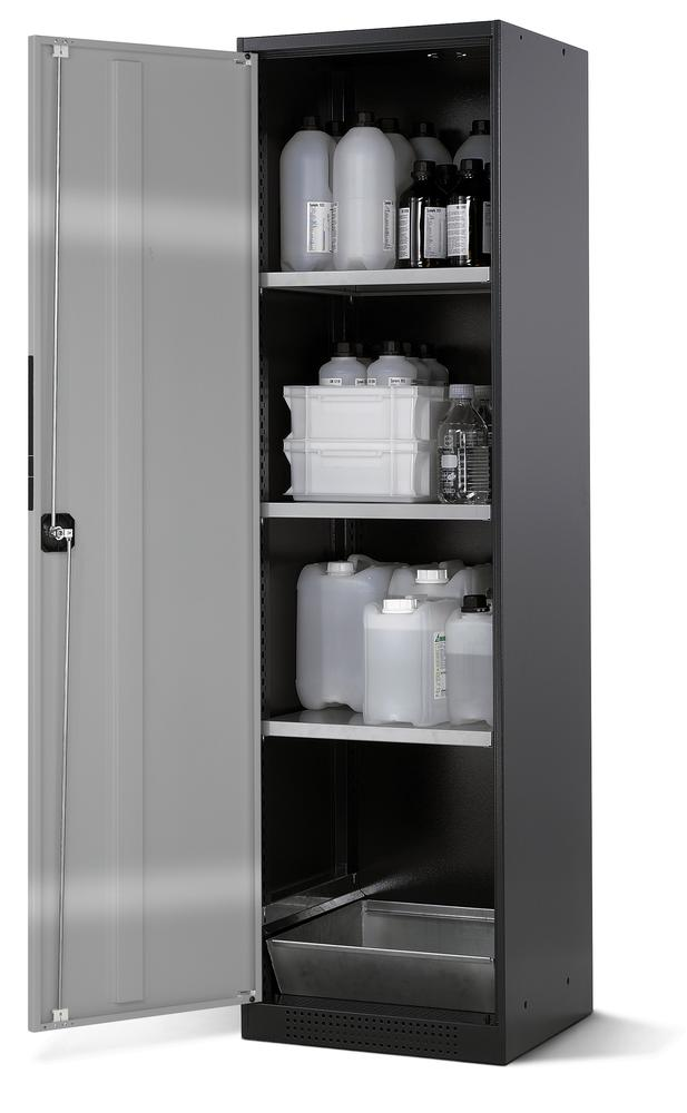 Chemicals cabinet Systema CS-53L, body anthracite, wing doors silver, 3 inliners and spillage deckin