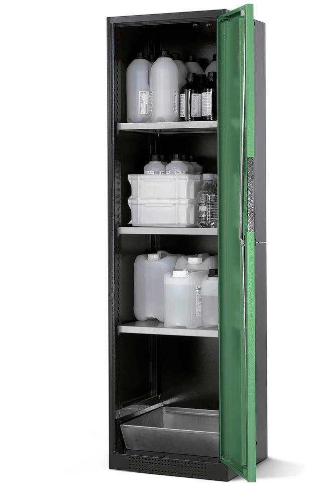 Chemicals cabinet Systema CS-53R, body anthracite, wing doors green, 3 shelves and spill pallet