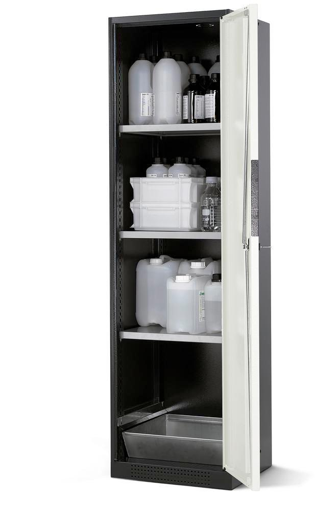 Chemicals cabinet Systema CS-53R, body anthracite, wing doors grey, 3 shelves and spill pallet