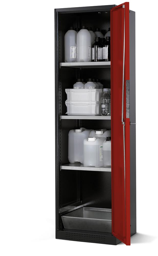 Chemicals cabinet Systema CS-53R, body anthracite, wing doors red, 3 shelves and spill pallet
