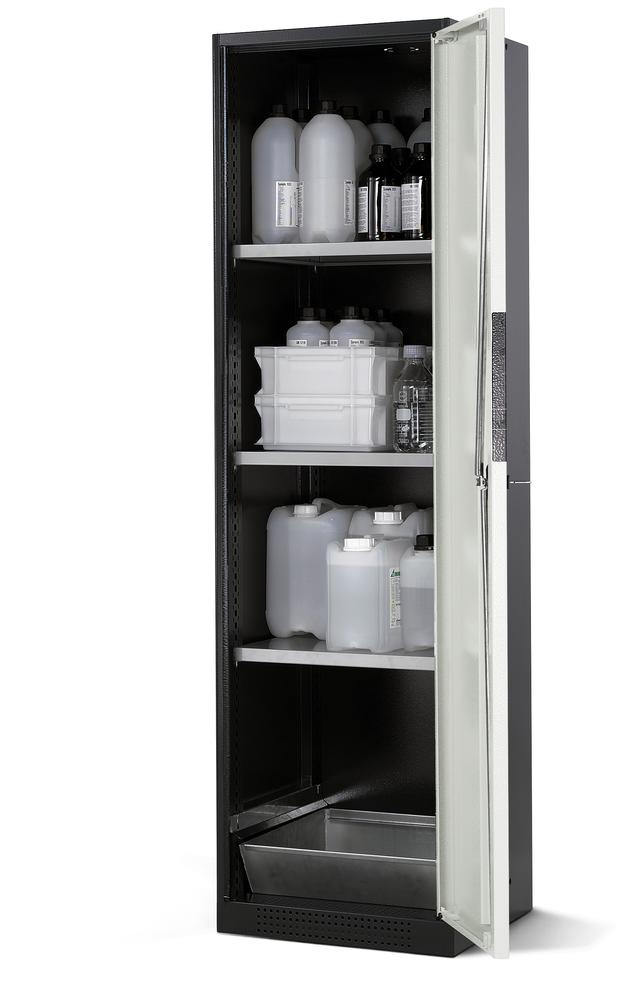 Chemicals cabinet Systema CS-53R, body anthracite, wing doors white, 3 shelves and spill pallet