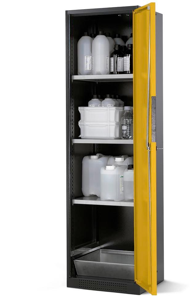 Chemicals cabinet Systema CS-53R, body anthracite, wing doors yellow, 3 shelves and spill pallet
