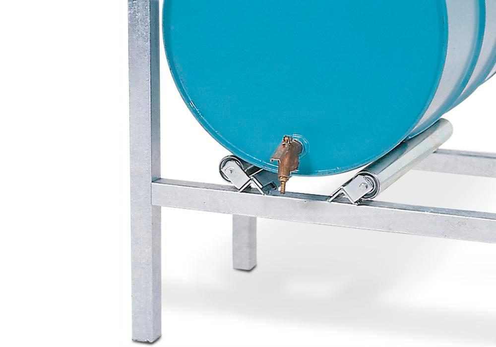 Drum roller supports for horizontal drum storage using ARL racking