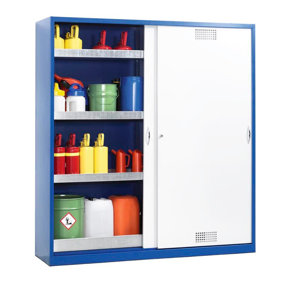 Hazmat locker Space CS 124, with sliding door, sump and 3 spill trays