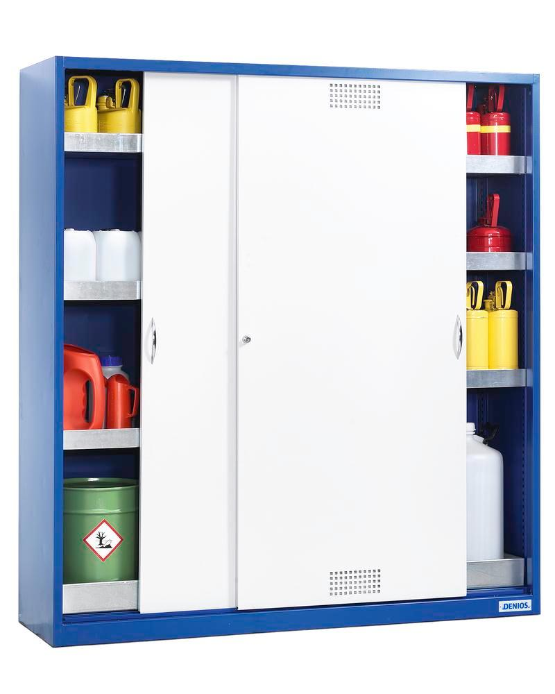 Hazmat locker Space CS 184, with sliding door, sump and 6 spill trays