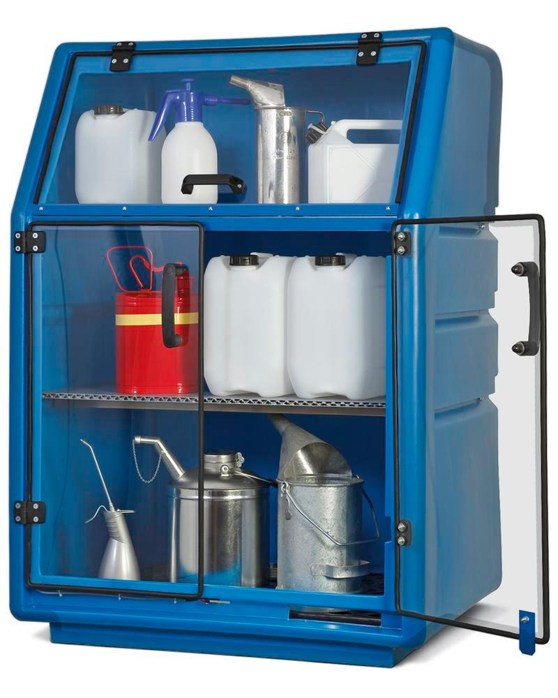 Oil / acid & alkali storage cabinet PolySafe PSR 8.8, polyethylene, with transparent doors, blue