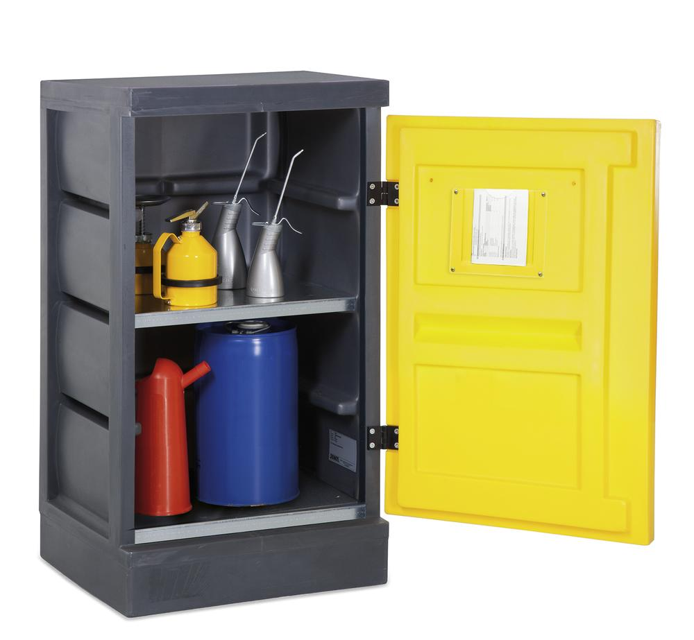 PolyStore environmental cabinet W 60 cm, plastic, with 2 galvanised shelves, 1 door, Type PS 611