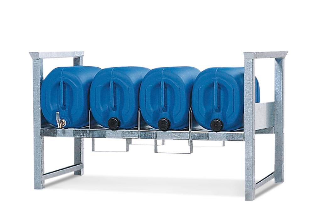 Stacking rack ARK 3 in steel, galvanised, for 4 x 30 or 3 x 60 litre canisters, with guide rails