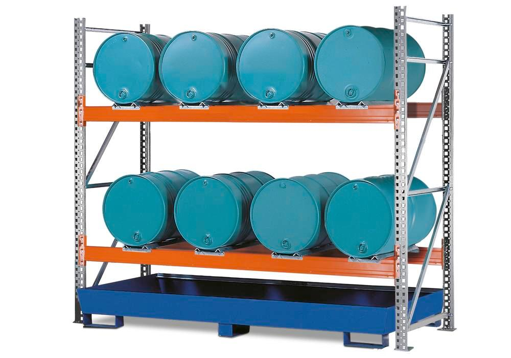 Combi shelves 2 L8-I for 8 drums each holding 205 litres, with a painted sump, starter module
