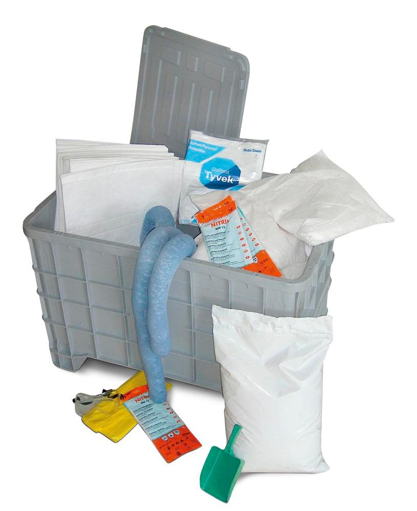 DENSORB Emergency Spill Kit in Storage Box with Lid and Castors, application UNIVERSAL