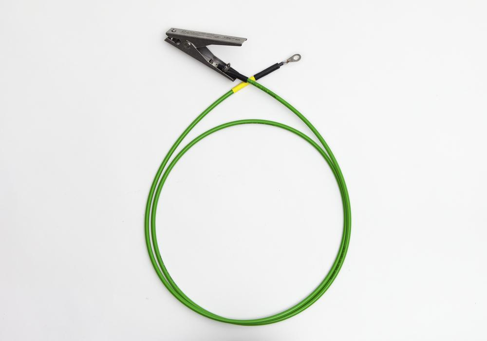 Earthing cable with 1 earthing clip / 1 cable eye, insulation and ATEX approval, 2 m cable