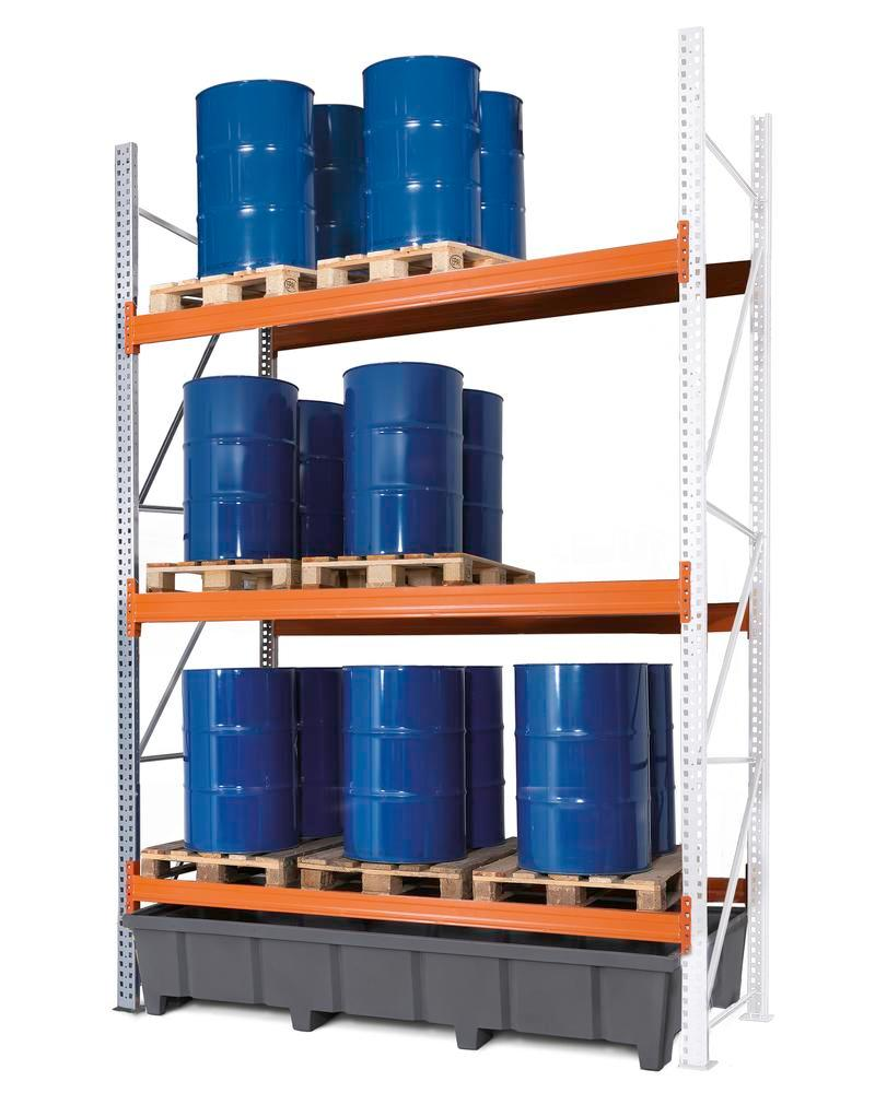 Pallet racking PRP 27.37 for 9 Euro or 6 chemical pallets, with 3 storage levels, extension system