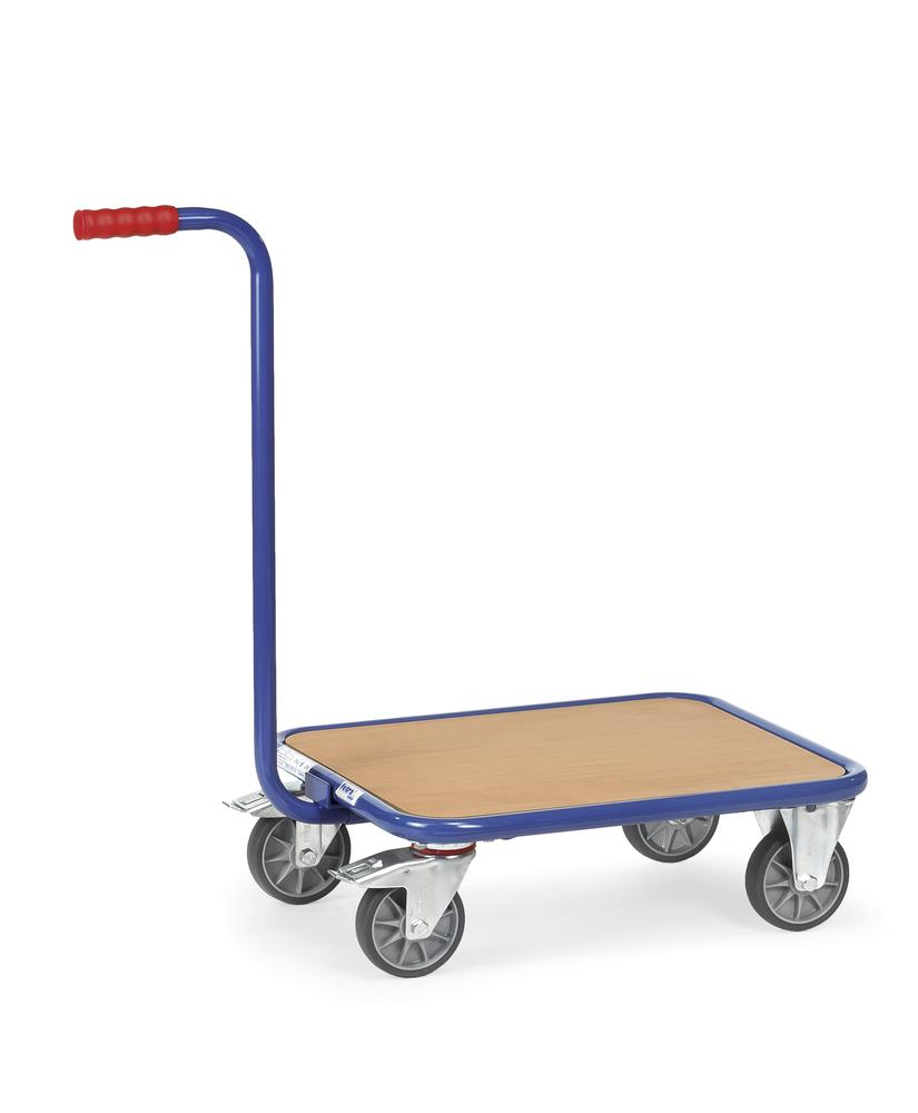 GR1 Trolley with handle in plastic coated sheet steel, 1 level, solid rubber tyres