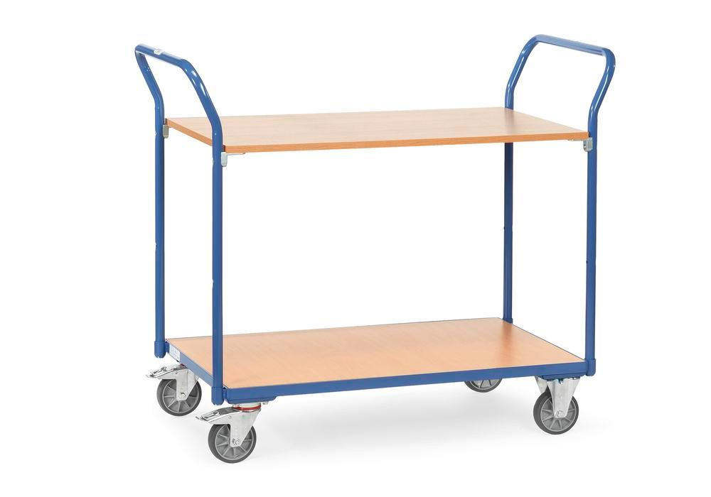 Multipurpose trolley ETA 2 in precision tubular steel, with 2 shelves, solid rubber tyres