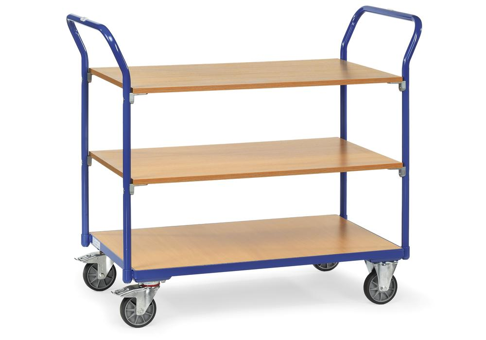 Multipurpose trolley ETA 4 in precision tubular steel, with 3 shelves, solid rubber tyres
