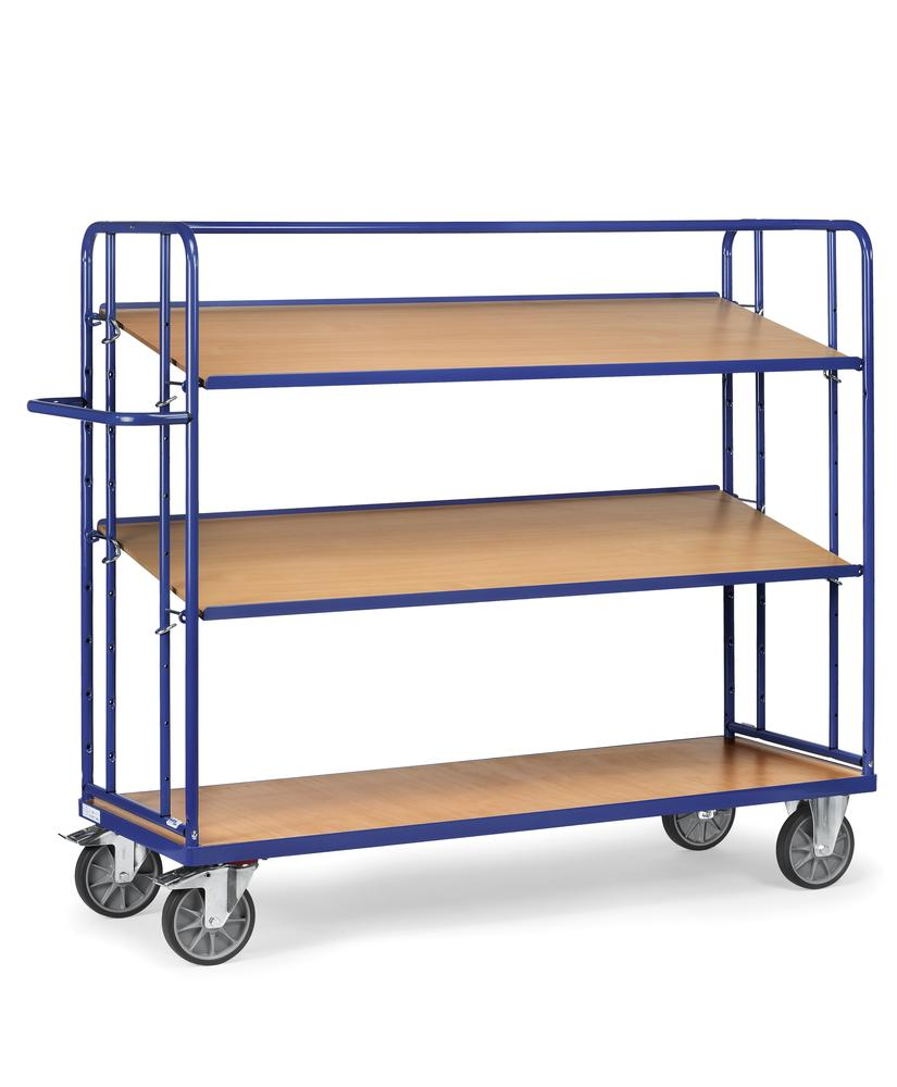 Tiered trolley RW 12 with 3 levels, for up to 3 boxes per level
