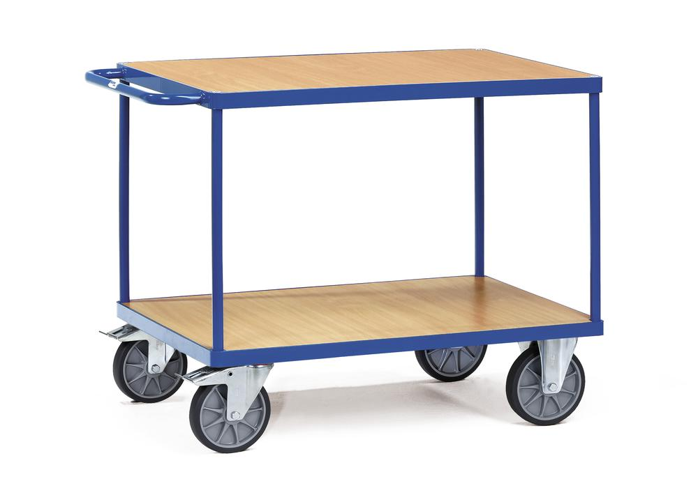 Workshop trolley TWP 3 in sheet steel with 2 wooden shelves with treated surface