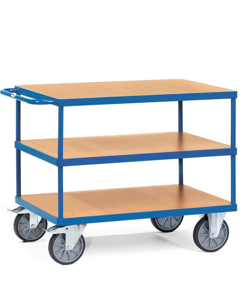 Workshop trolley TWP 5 in sheet steel with 3 wooden shelves with treated surface