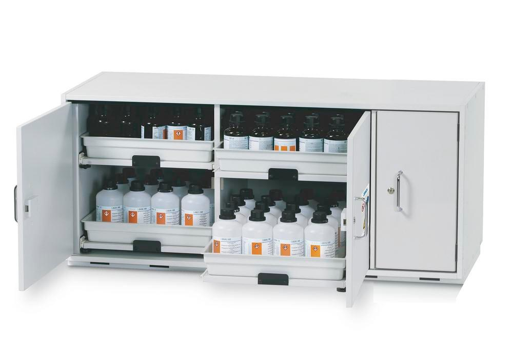 Acids and alkalis underbench cabinet SL 1404, 4 pull-out draws, incl. materials storage compartment
