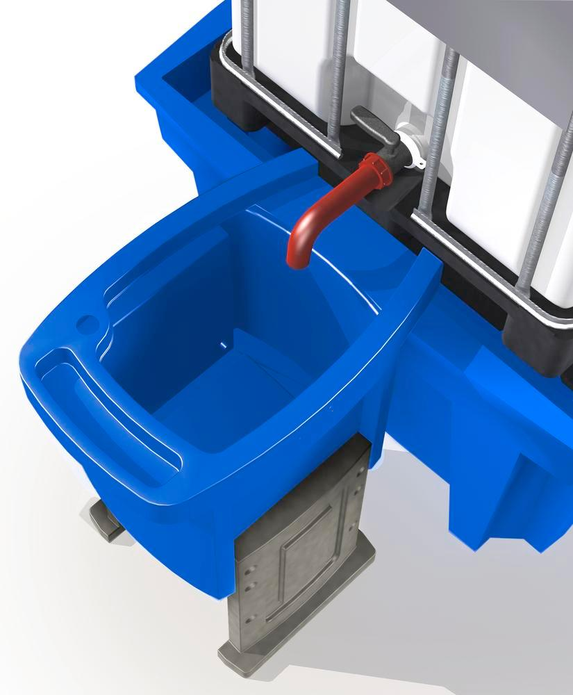 Dispensing tray for IBC stations, height adjustable, with two legs