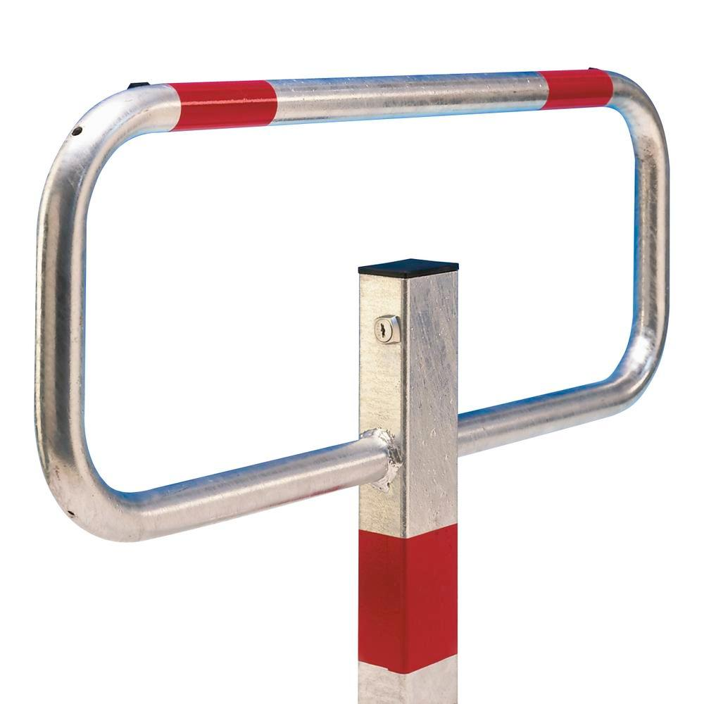 Folding post, hot dip galvanised, 3 reflective red rings, cylinder lock for concreting in