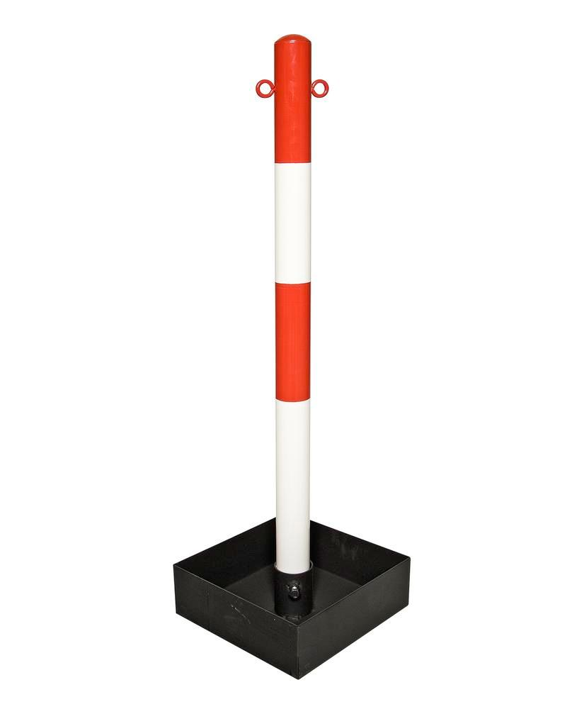 Heavy duty chain barrier post, red/white, base tray without handle, 1000 mm high