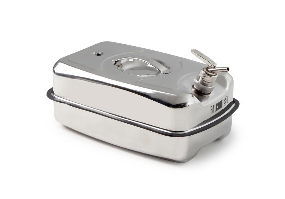 Safety containers in stainless steel, with fine dosing Tap, 20 litre