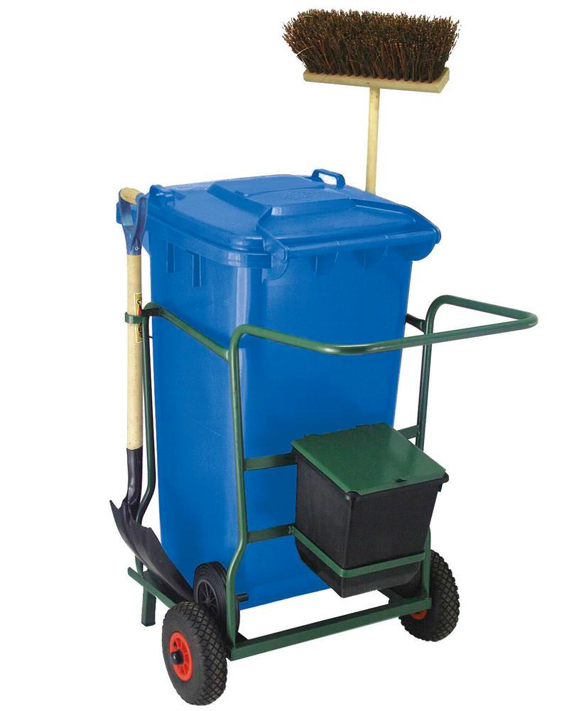 Cleaning trolley with one 240 litre waste container, container colour blue