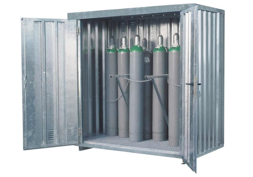 Gas Cylinder Container MDC 210, galvanized, storage capacity 21 x Ø 220mm gas cylinders