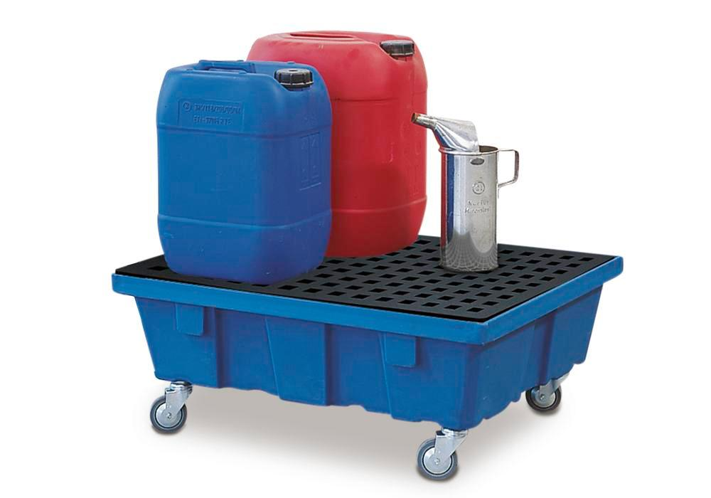 Spill tray for small containers classic-line in polyethylene (PE) with castors and PE grid, 60 litre