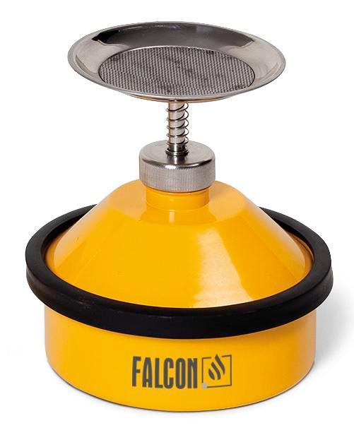 Steel plunger can with top plate, pump and protection ring, 1 litre, powder coated, yellow