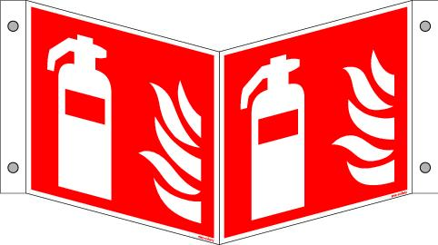 "3D sign ""Fire extinguisher"", ISO 7010 / ASR 1.3, aluminium 200 mm x 200 mm"
