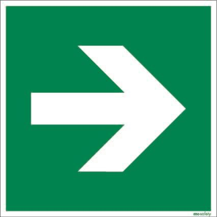 "Emergency sign ""Arrow"", ISO 7010 / ASR 1.3, aluminium 150 mm x 150 mm"