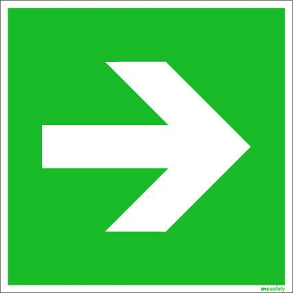 "Emergency sign ""Arrow"", ISO 7010 / ASR 1.3, foil 200 mm x 200 mm"