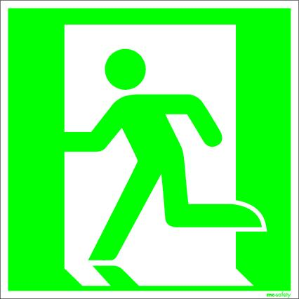 "Emergency sign ""Emergency route left"", ISO 7010 / ASR 1.3, foil 150 mm x 150 mm"