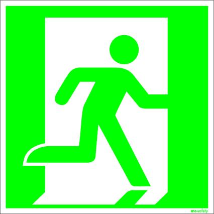 """Emergency sign """"Emergency route right"""", ISO 7010 / ASR 1.3, foil 150 mm x 150 mm"""