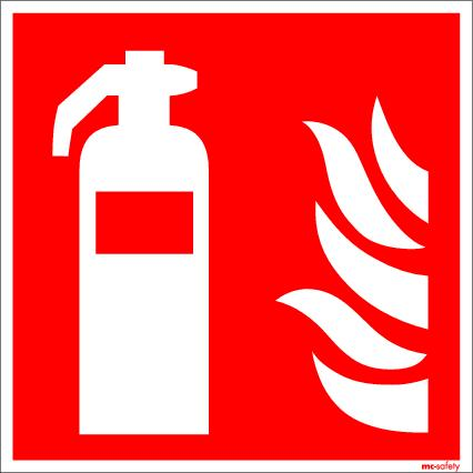 """Fire protection sign """"Fire extinguisher"""", ISO 7010 / ASR 1.3, aluminium 150 mm x 150 mm"""