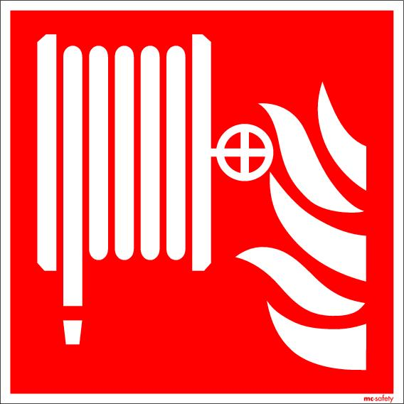 """Fire protection sign """"Fire hose"""", ISO 7010 / ASR 1.3, foil 150 mm x 150 mm"""