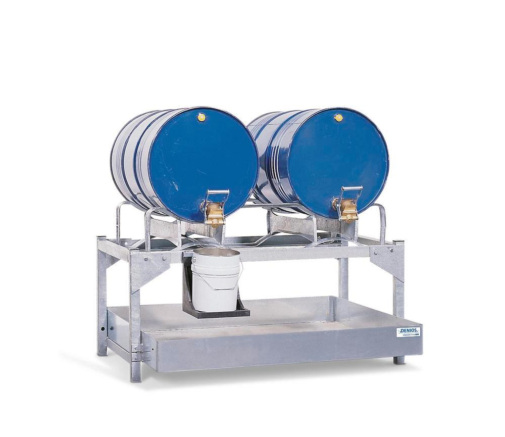 Drum dispensing station AS-P 2, galvanized steel, for 2x205 litre drums, with steel dispensing rack