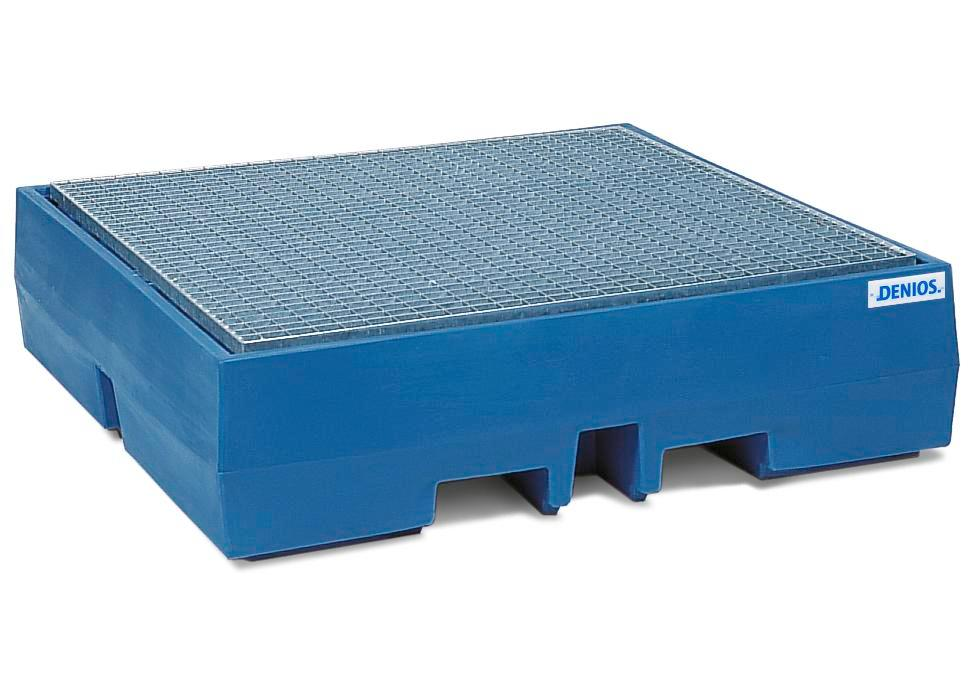 Spill pallet classic-line in polyethylene (PE) for 4 drums, with galvanised grid, 1300x1300x350