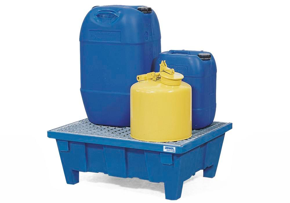Spill tray for small containers classic-line in polyethylene (PE) with feet and galv. grid, 60 litre