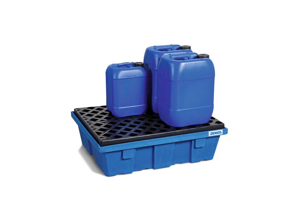 Spill tray for small containers classic-line in polyethylene (PE) with PE grid, 60 litres